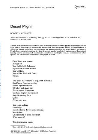 desert pilgrim burning man kozinets poem poetry poetics